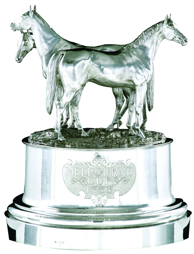 Elkington & Co. The 1888 Melbourne Cup 1887. Maker's mark of Frederick Elkington. Silver, electroplated metal. Engraved 'Won by DS Wallace's BC Mentor, ridden by Michael O'Brien, trained by WS Hickenbotham'. National Gallery of Australia, Canberra. The National Gallery of Australia is an Australian Government Agency.