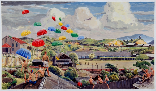 Geoff Tyson Omine summer food drop 1945. Watercolour on card. Gift of the artist, 1982. QVMAG Collection ref QVM.FA.719.
