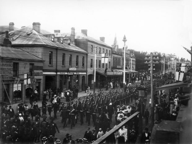 Boer War contingent marching along Charles Street in Launceston c1902 QVMAG Collection QVM1997:P:5795