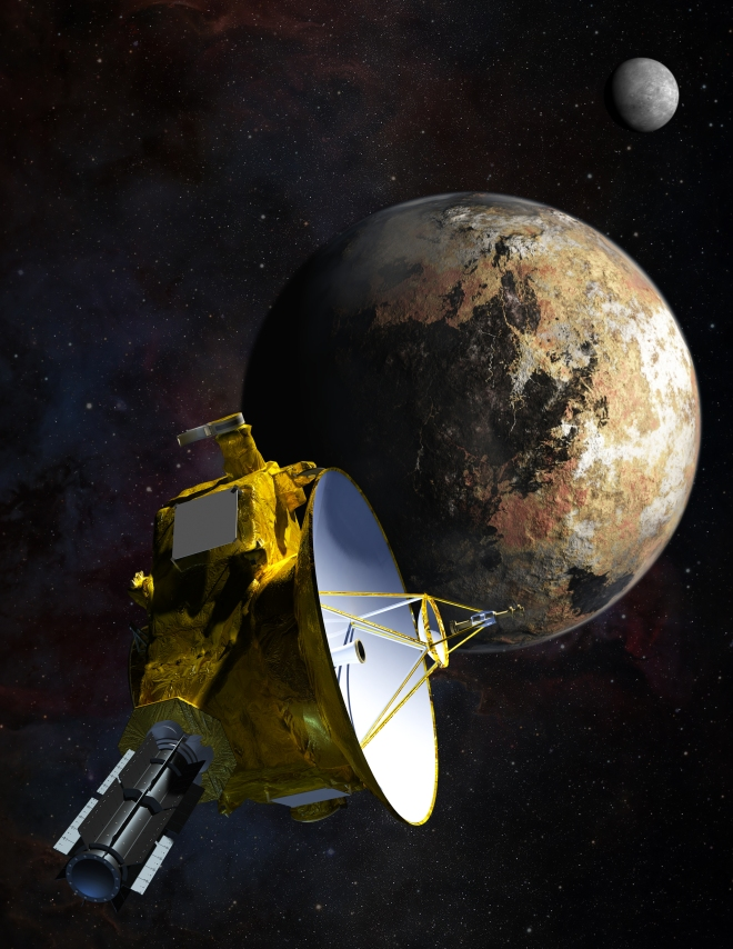 An artist's impression of the New Horizons spacecraft flying past Pluto.  The closest approach will be on July 14.  CREDIT: JHUAPL/SwRI